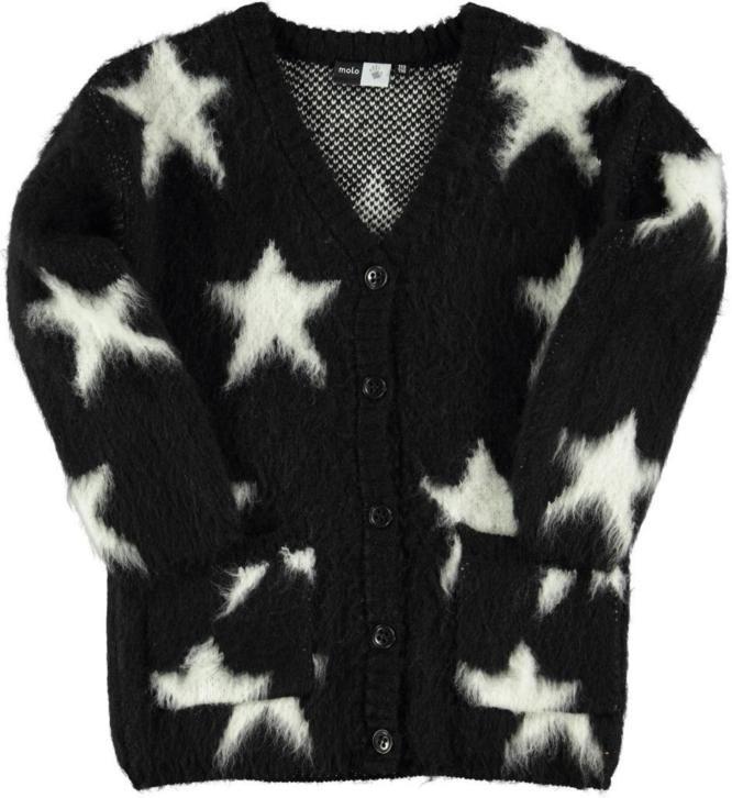 Zwarte Trui Met Witte Sterren.Molo Giselle Fluffy Vest Zwart Met Sterren Parit Kinderkleding